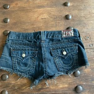 True Religion Joey Cut Off denim frayed shorts